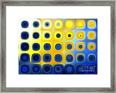 Blue And Yellow Circles  B Framed Print by Patty Vicknair