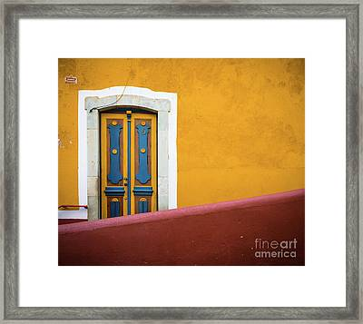 Blue And Yellow Door Framed Print by Inge Johnsson