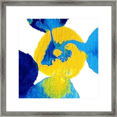 Blue And Yellow Sea Interactions A Framed Print by Amy Vangsgard