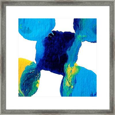 Blue And Yellow Sea Interactions  Framed Print by Amy Vangsgard