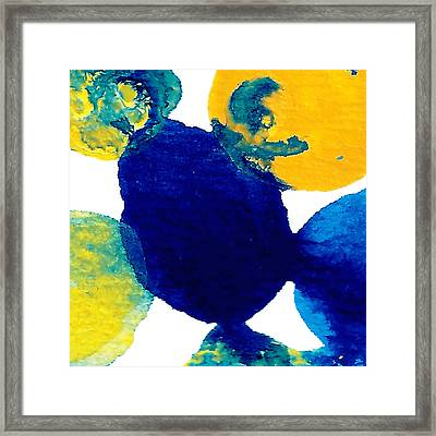 Blue And Yellow Sea Interactions B Framed Print by Amy Vangsgard