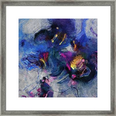 Blue And Yellow Minimalist / Abstract Painting Framed Print by Ayse Deniz