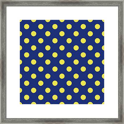 Blue And Yellow Polka Dots- Art By Linda Woods Framed Print