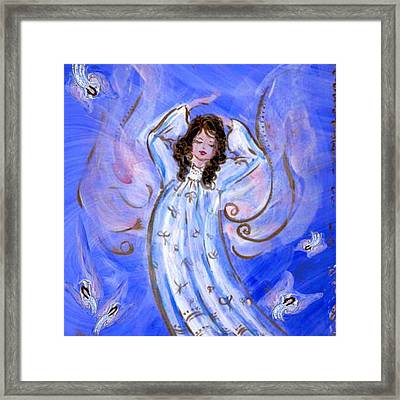 Blue Angel Waking Framed Print by Rosemary Babikan