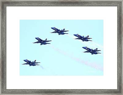 Blue Angels 5 Team Formation Framed Print by Wingsdomain Art and Photography