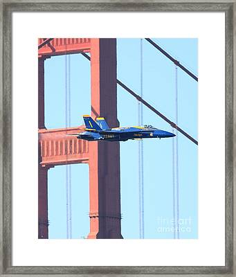 Blue Angels Crossing The Golden Gate Bridge Framed Print by Wingsdomain Art and Photography