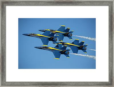 Framed Print featuring the photograph Blue Angels Diamond Formation by Adam Romanowicz