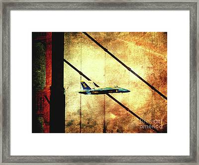 Blue Angels Golden Gate And Moon - Photoart Framed Print by Wingsdomain Art and Photography