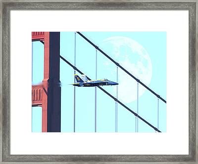 Blue Angels Golden Gate And Moon Framed Print by Wingsdomain Art and Photography