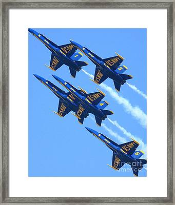 Blue Angels Leaving A White Trail Framed Print by Wingsdomain Art and Photography