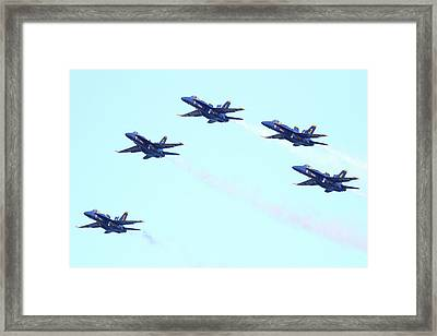 Blue Angels Pyramid Formation Framed Print by Wingsdomain Art and Photography