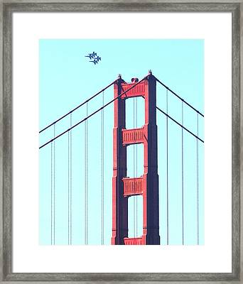 Blue Angels Soaring Above The Golden Gate Bridge Framed Print by Wingsdomain Art and Photography
