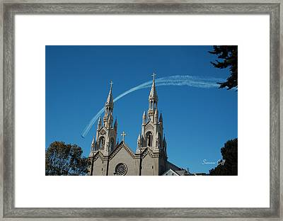 Blue Angels Soaring Framed Print by Suzanne Gaff