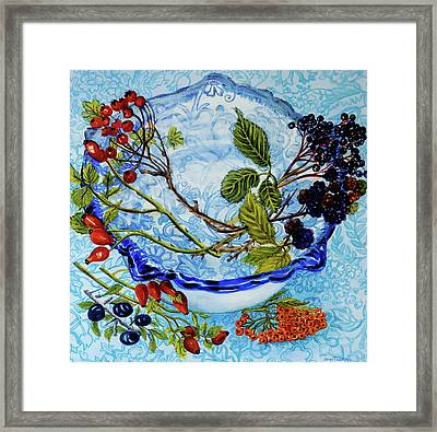 Blue Antique Bowl With Berries Framed Print by Joan Thewsey