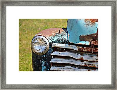 Blue Antique Chevy Grill- Fine Art Framed Print