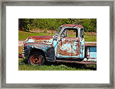 Blue Antique Chevy Truck- Fine Art Framed Print