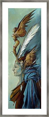 Blue Art Deco Indian Headdress Hood Ornamental Framed Print