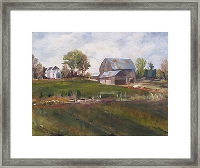 Blue Barn Framed Print by Diane Daigle