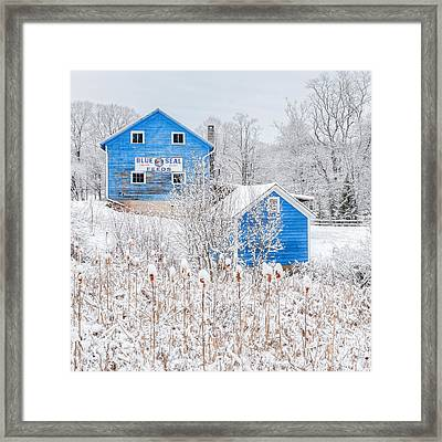 Blue Barns Square Framed Print by Bill Wakeley