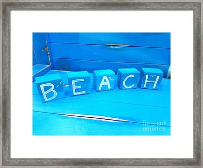 Blue Beach Blocks Framed Print