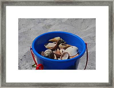 Framed Print featuring the photograph Blue Beach Bucket by Michiale Schneider