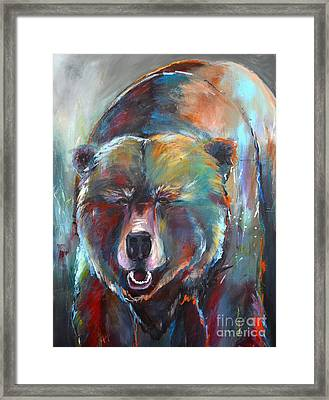 Framed Print featuring the painting Blue Bear by Cher Devereaux