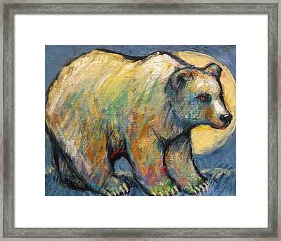 Blue Bear Grizzly Bear In A Full Moon Framed Print