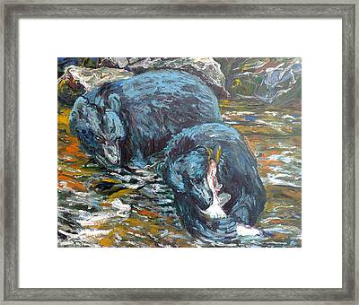 Framed Print featuring the painting Blue Bears Fishing by Koro Arandia