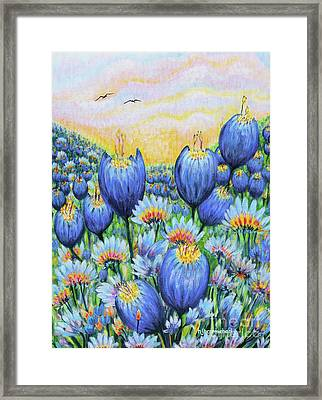 Framed Print featuring the painting Blue Belles by Holly Carmichael