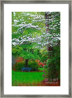 Framed Print featuring the photograph Blue Bench In Park by Donna Bentley