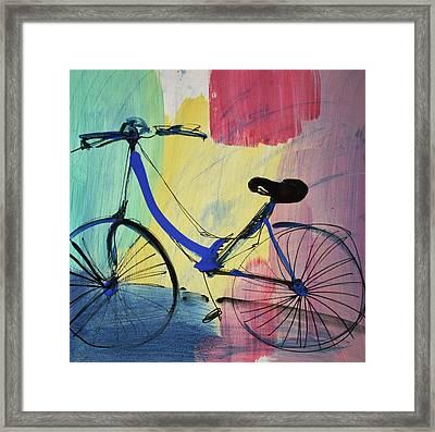 Blue Bicycle Framed Print