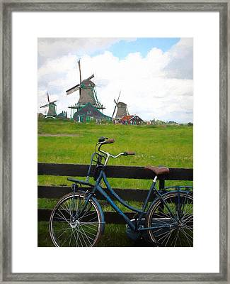 Blue Bicycle And Windmills Framed Print