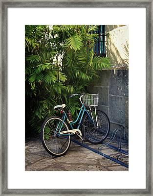 Blue Bike-  By Linda Woods Framed Print