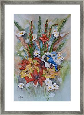 Framed Print featuring the painting Blue Bird Eats Thru The Painting by Kelly Mills