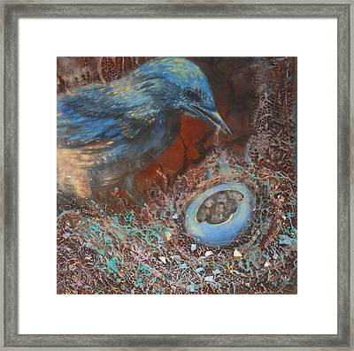 Blue Bird Family Ties Framed Print by Christine Wenderoth