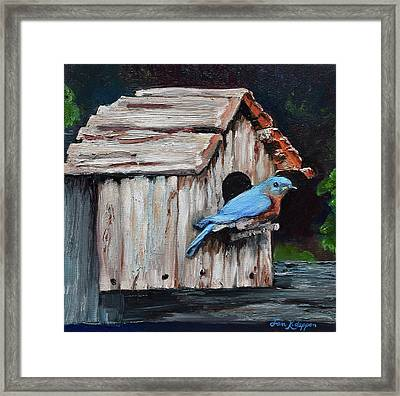 Framed Print featuring the painting Blue Bird On Lake Odom by Jan Dappen