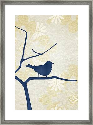 Blue Bird Silhouette Modern Bird Art Framed Print by Christina Rollo