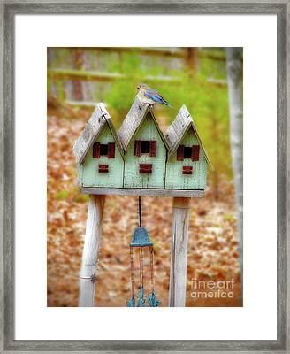 Blue Birds Castle Framed Print by Laura Brightwood