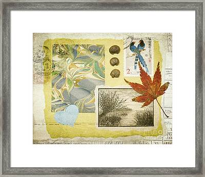 Blue Birds Collage Framed Print by Jan Bickerton