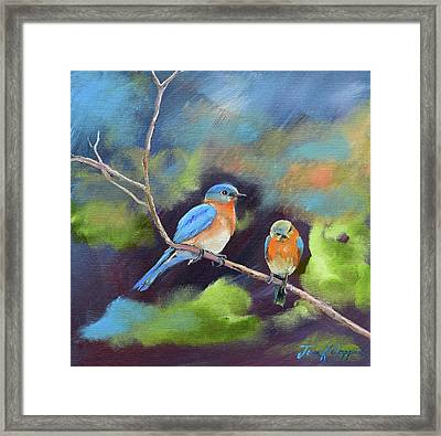 Framed Print featuring the painting Blue Birds - Soul Mates by Jan Dappen