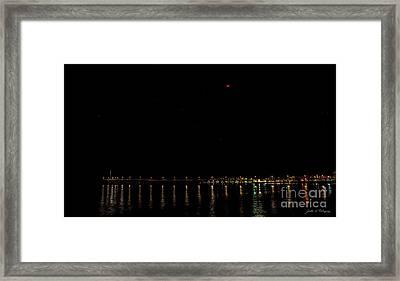 Blue Blood Moon 2018 Ventura, California Pier Framed Print