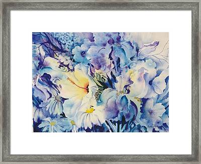 Blue-blossoms Framed Print by Nancy Newman