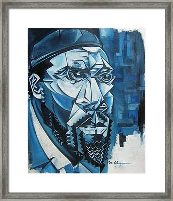 Blue Blue Monk Framed Print by Martel Chapman