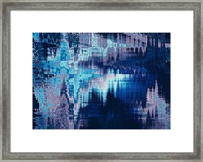 blue blurred abstract background texture with horizontal stripes. glitches, distortion on the screen broadcast digital TV satellite channels Framed Print by Oksana Ariskina