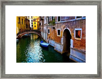 Blue Boat At Twilight Framed Print