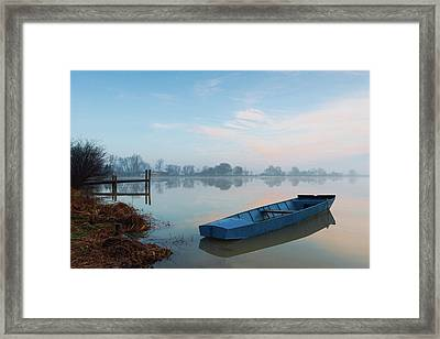 Framed Print featuring the photograph Blue Boat by Davor Zerjav