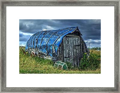 Blue Boat Hut Framed Print by Chris Whittle