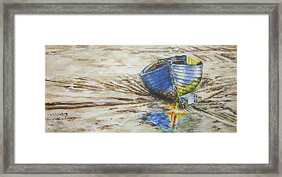 Blue Boat Framed Print by Marty Garland