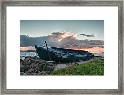 Blue Boat Framed Print by Sam Smith
