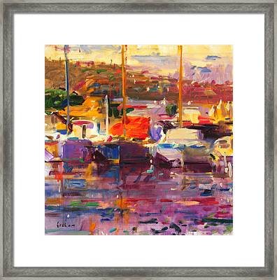 Blue Boat  St Tropez  Framed Print by Peter Graham